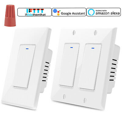 Smart 2 Button Light Switch WiFi Wall Switches Timer Work With Alexa Google Home