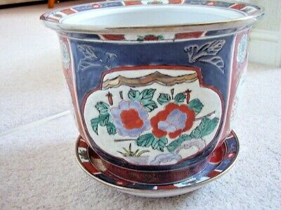 Chinese hand painted porcelain large flower pot with dish