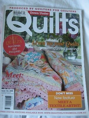 Down Under Quilts Magazine #133 Patchwork Textile Artist Curved Piecing Bag