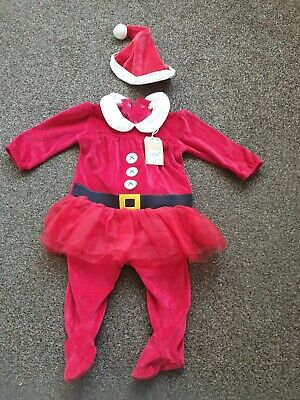New with tags Baby Girls Christmas Santa Outfit With Hat By NextAge 6-9 Months