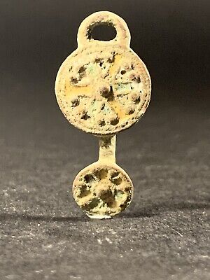 Ancient Roman Bronze Protection Amulet Pendant In Form Of Shield Circa 100-200Ad