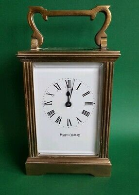 MAPPIN & WEBB OLD FRENCH BRASS CARRIAGE CLOCK with KEY