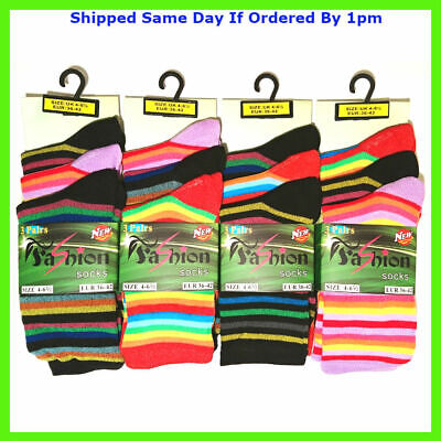 3 New Pairs Girls Stripe Multi Colour Everyday Funky Socks Size 4-7 Smart Casual