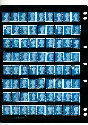 100 x SECOND CLASS ALL BLUE  GB STAMPS UNFRANKED NO GUM SEE SCAN