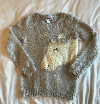 Girls Soft Grey Fluffy Unicorn Jumper Age 7-8 Years From Primark -Good condition