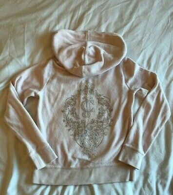 Juicy Couture Girls Age 8/10 Pale Pink Velour Zip up Hoodie With diamante Logo