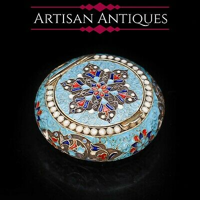 Antique Russian Cloisonne Enamel Silver Pill Box - Grigory Sbitnev c.1900