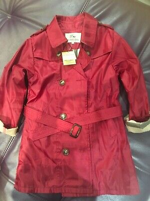 Burberry Red Classic Girls Trench Coat Raincoat Age 7-9 Years NEW Present