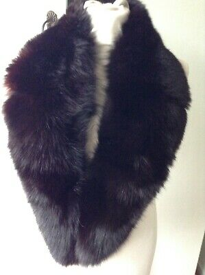 Vintage Large Real  Fur Collar Nearly  Black Fox Scarf Collar