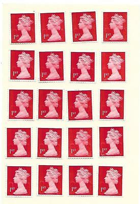 50 x 1st First Class Genuine UNFRANKED ALL POST OFFICE RED STAMPS EASY PEEL  #