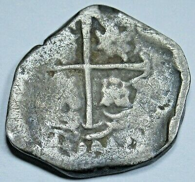1600's Spanish Silver 1 Reales One Real Old Antique Colonial Era Pirate Cob Coin