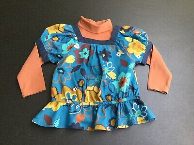 Next Girls Roll Neck Top And Blouse Two Piece Set.  Age 3-4 Years.  Immaculate