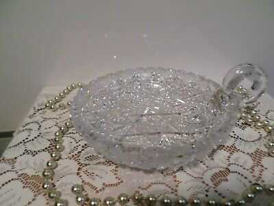 Vintage Clear Crystal Handled Nappy Bon Bon Candy Dish Intricate Star Pattern