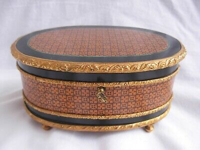 Antique French Inlaid Wood Jewel Box With Gilt Bronze Ornements,Napoleon Iii.