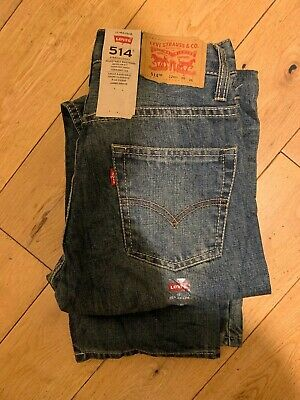 Boys Levis Strauss 514 Straight Red Tab Jean - New Age 12 W 26 L 26 - Dark Blue