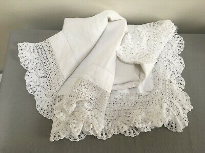 Vintage white cotton tablecloth with hand crochet edge