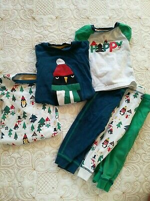 Boys Christmas Pyjamas M&S 12-18 months 3 pairs Penguin Christmas Tree 1-1.5 yrs