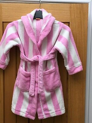 Girls pink white stripe dressing gown bath robe age 2-3 Good condition By Boots