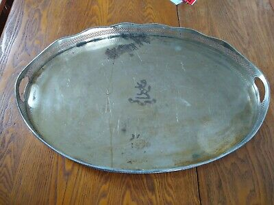 """24"""" Vtg Sheffield Silver Plate Oval Ornate Handled Footed Gallery Serving Tray"""