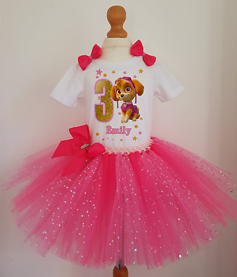 Girl Paw Patrol Skye Birthday tutu dress set ,Girls Birthday outfit Costume