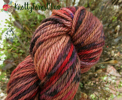 Hand Dyed Yarn HEARTHSIDE Country Mile Bulky SW Merino Wool 106y Toasty Brown