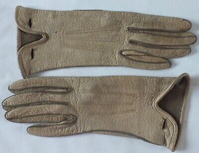 VINTAGE GLOVES in Beige Leather.Everyday/driving gloves.Wrist length