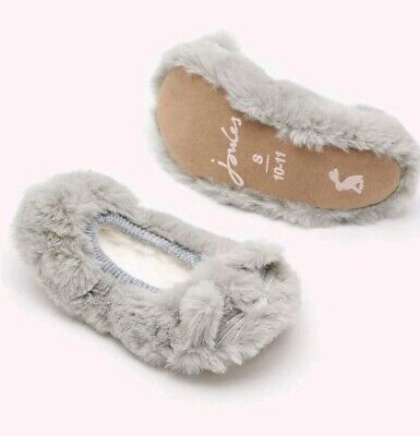 Gorgeous Joules Girls Pippie Character Ballet Slippers in Soft Grey size 10-11