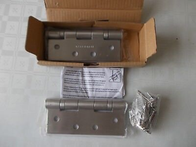 """5 x pair of 4"""" satin stainless steel butt hinges"""