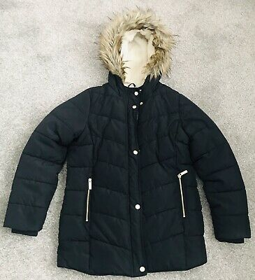 Girls Winter Warm Padded Quilted School Coat 11-12 12-13 Navy Blue Faux Fur Trim