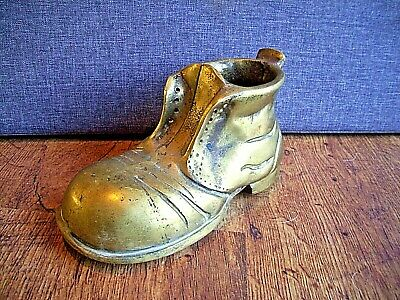 Vintage Solid Heavy Brass Boot Decorative Planter/Pot Complete with Lace Holes