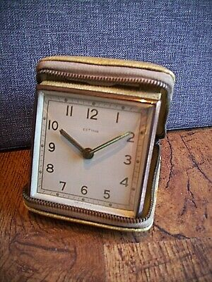 Vintage Estyma Faux Leather Cased Travel Alarm Clock with Winding Mechanism