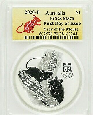 2020-P $1 Australia Year of the Mouse 1 oz Silver Coin PCGS MS70 First Day New