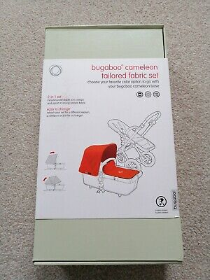 Brand New Bugaboo Cameleon3 Tailored Fabric Set Orange With Extendable Hood