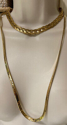 Napier Gold Tone Necklace Imitation Pear Thick Spring Chain Vintage Signed CHIC