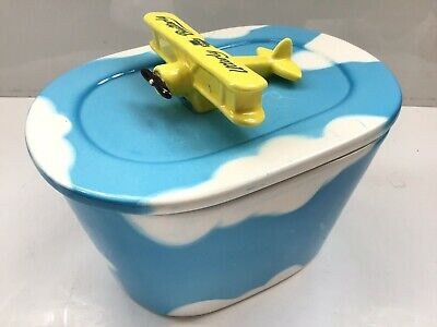 Utterly Butterly Blue Clouds Aeroplane Butter Dish