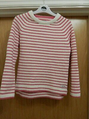 Joules 11-12 girls pink and white hooped jumper