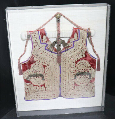 Turkish Ottoman Vest Rare Fully Embroidered Silver Medal Aristocrat Coat Case