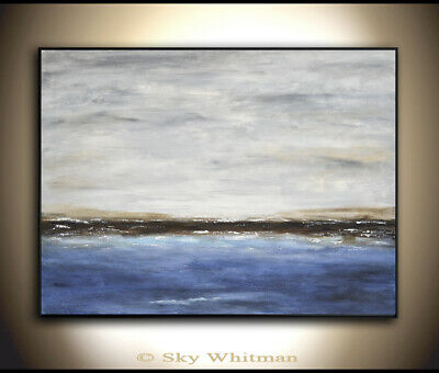 ORIGINAL LARGE SEASCAPE ABSTRACT ART 30 x 40 MODERN OIL PAINTING ~ Sky Whitman