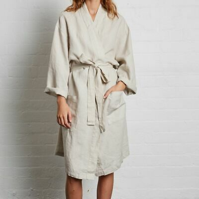 New! 100% Washed Soft Linen Dressing Gown Bathrobe 4 Colours