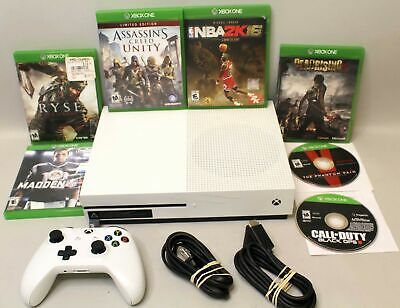 Microsoft Xbox One S 500G Console - White TESTED Model 1681 w/ 7 Games