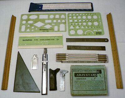 Lot of 17 Vintage Drafting Templates Stencils Rulers Lettering Guides Lufkin