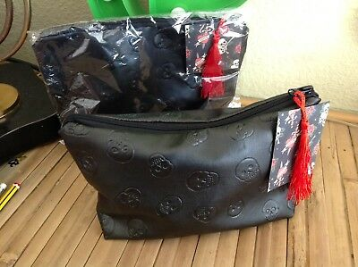 Sugar Skull Day Of Dead Black Lined Toiletry Cosmetic Bag Rockabilly Goth Gift