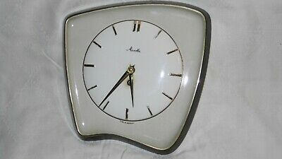 MAUTHE 1950s CERAMIC WALL CLOCK In Good Working Order With Key