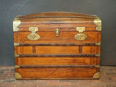 Amazing Antique Leather Domed Top Steamer Trunk