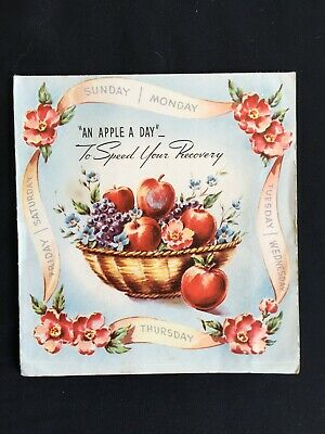 Vintage Collectable Greeting Card - c1950s - An Apple A Day - Get Well