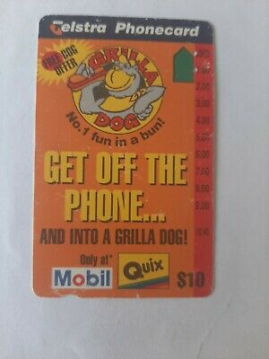 $10  2Hole Phonecard Grilla Dog Get Off The Phone Prefix 1491