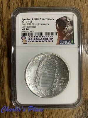 2019 Apollo 11 50th Anniversary Uncirculated Silver Dollar Coin NGC MS70 ER ASF