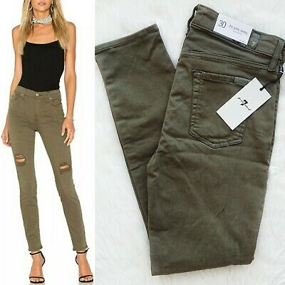 7 FOR ALL MANKIND Ankle Skinny NWT Ripped Women's Jeans Size 30 RRP $290
