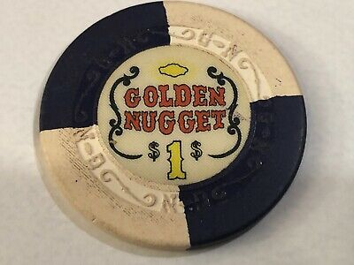 $1 Golden Nugget Hotel & Casino Las Vegas Nevada - Scroll Mold  - Blue and White