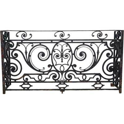 Antique French Beaux-Arts Thick Wrought Iron Balcony 19th century